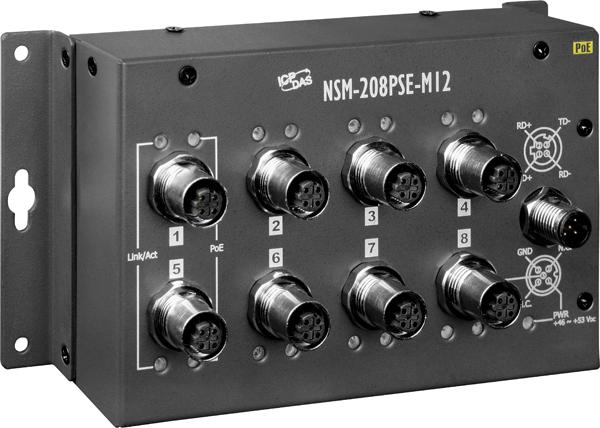 Nsm 208pse M12 En50155 8 Port M12 Unmanaged Poe Ethernet