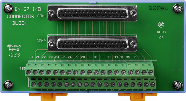 DN-37/2 (with DIN-Rail Mounting and Dsub 37-pin connector