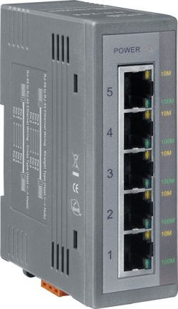 Unmanaged 5-Port Industrial Ethernet Switch with Din Rail Mount. Each port supports 10/100 Mbps speed auto negotiation and plug-and-play. Durable for harsh industrial environments and compact for use in control panels. Supports operating temperature -40 ~ +75°C (-40F ~ 167F).