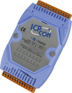 16 Channel Isolated Digital Output Data Acquisition Module with Display communicable over RS-485. Supports operating temperatures between -25°C ~ +75°C (-13°F ~ +167°F).
