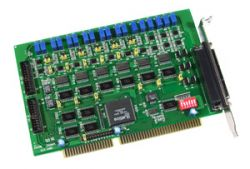 6-channel 12-bit Analog Output and Digital I/O ISA Board. Has 16 Digital Input channels and 16 Digital Output Chennels. Includes one CA-4002 D-Sub connector, supports operating temperatures from 0 ~ 60 °C with DB-37 (Direct Connect 37 Pin Termination Board)