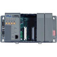 Rack mount embedded Ethernet controller: 256/512K flash, 256/512k SRAM, 10BaseT connection, MiniOS7 Operating System. Available in 4 & 8 slot capacity  (4 x slot: 256k / 256k)