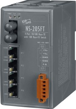 Unmanaged 4 Port Industrial 10/100BaseT Ethernet with Fiber 100BaseFX Switch with ST Connector.  Secures data transmission by using fiber optic transmission to provide immunity from EMI/RFI interference. *For Multi Mode Use*  Comparable to Sixnet, Stride, Hirschmann, and other industrial Ethernet Switches. Supports operating temperatures from 0 ~ +70°C (32F ~ 158F).