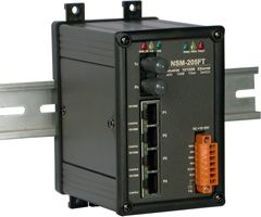 *For Multi Mode Use* Unmanaged 5 Port Industrial 10/100BaseT Ethernet to 100BaseFX Fiber Switch in Metal Case that Secures Data by using  Fiber Optic transmission to provide immunity from EMI/RFI interference. (ST Connector; Multi-mode)