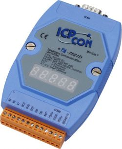 Embedded communication Controller with 1 Port.  I-7521D has a Display. Supports operating temperatures between -25 to 75°C.