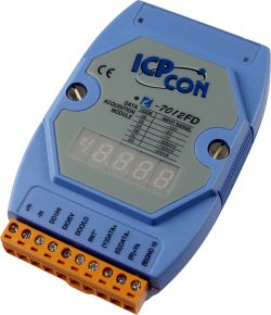Voltage Input, Current Input, &  Analog Input Data Acquisition Module with display, with 1 Analog Input, 1 Digital input, 2 Digital Output, communicable over RS-485, and FREE EZ Data Logger Software. Supports operating temperatures between -25 to 75°C.
