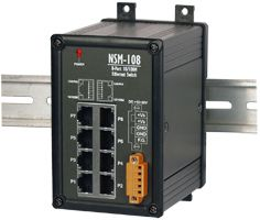 Unmanaged 8 Port Industrial 10/100 BaseT Ethernet Switch, supports operating temperatures from -30 ~ +75°C