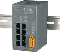 Unmanaged 8 Port Industrial 10/100/1000 BaseT Gigabit Ethernet Switch.  Supports operating temperatures from -30°C ~ +70°C (-22F ~ 158F).