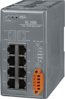 8-Port Industrial 10/100 Mbps Unmanaged Ethernet Switch, DIN-Rail mount (Robust Version).   Supports operating temperatures from -40°C ~ +75°C (-40°F ~ 167°F).