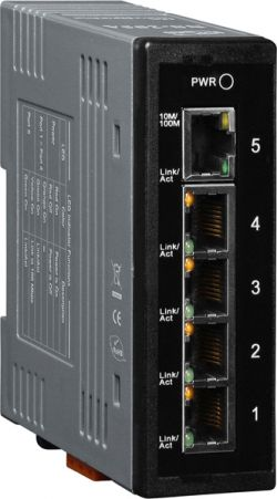 Unmanaged 5-Port Industrial Ethernet Switch with 12 - 56 VDC power input. Supports operating temperatures from -40°C ~ +75°C