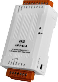 4-channel Isolated Digital Input and 4-channel Isolated Digital Output Module.  Communicable over RS-485 and Modbus RTU