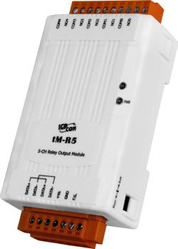 5-channel Form A Power Relay Output Data Acquisition module, communicable over RS-485, Modbus RTU / ASCII, and DCON protocol.  Din rail mountable and operates between -25C and 75C (-13F ~ 167F).
