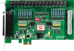 PCI Express x1, 16-channel Isolated Digital Input, 16-channel Relay Output Includes one CA-4037W cable and two CA-4002 D-Sub connectors, supports operating temperatures from 0 ~ 60°C.  (Formerly PISO-P16R16E).