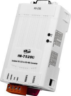 Isolated RS-232 to RS-485 Converter. Supports operating temperatures from -25°C ~ +75°C
