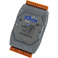 4-channel Voltage Output, Current Output, Analog Output (0 ~ 5 V, +/- 5 V, 0 ~ 10 V, +/- 10 V, 0 ~ 20 mA, 4 ~ 20 mA) and 5-channel Digital Input Module with DCON and Modbus Protocol, communicable over Modbus RTU and RS-485, supports operating temperatures between -25 ~ +75°C