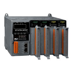 4 slots I/O Expansion Unit with Modbus TCP protocol, communicable over Modbus RTU, Modbus TCP, Ethernet, RS-232.  Supports operating temperatures from -25 ~ +75°C