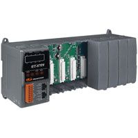 8 Slots I/O Expansion Unit with 2 10/100 Base TX RJ-45 Ethernet ports.  Din rail mountable.  Supports daisy chain Ethernet cabling.  Supports operating temperatures of -25 ~ +75C