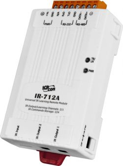 Universal IR Infrared Learning Remote Module to Modbus RTU converter (2 IR outputs, 224 IR Cmds), with 2 CA-IR-SH2251 & 1 CA-0910, communicable over RS-485 and RS-232, supports operating temperature from -25°C ~ +75°C