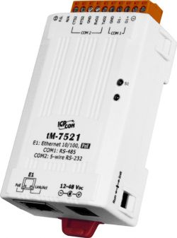 Tiny Addressable Serial Converter with PoE and 1 RS-232 and 1 RS-485 Ports, supports operating temperatures from -25 ~ +75 °C