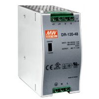 48 V / 2.5 A, 120 W Single Output Industrial DIN Rail Power Supply, voltage range 88 ~ 132 VAC/176 ~ 264 VAC by switch 248 ~ 370 VDC