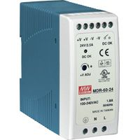 24V / 2.5A 60W Single Output Industrial DIN Rail Power Supply, voltage range 85 ~ 264VAC, 120 ~ 370VDC