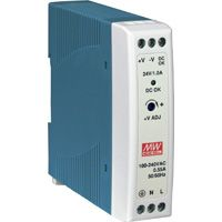 24V / 1A 24W Industrial Power Supply with DIN Rail Mount.  Voltage input range is 85 ~ 264VAC or 120 ~ 370VDC.