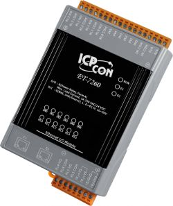 Modbus TCP Based Ethernet I/O Module with 2 Ethernet ports for daisy-chain networking, with 6-channel Relay Output and 6-channel Digital Input with counter, can be configured as as Wet Contact Sink or Source type. Communicable over Modbus TCP and Modbus UDP protocol, Supports operating temperatures of -25°C ~ +75°C (-13°F ~ 167°F) and has a din rail mount.