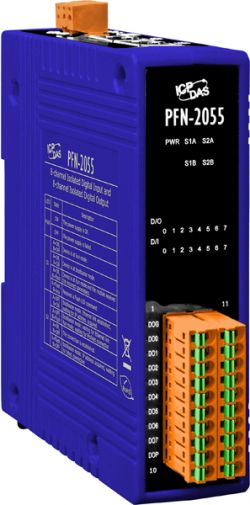 PROFINET 8 Channel Isolated Digital Input and 8 Channel Isolated Output Module with 4 kV Contact ESD protection for any terminal.  Communicates over PROFINET protocol.  Input types are +3.5 ~ +50 VDC.  Supports operating temperatures of -25°C ~ +75°C (-13°F ~ 167°F) and is din rail mountable.