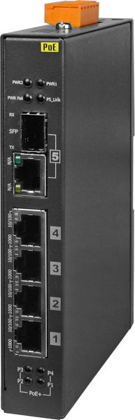 Industrial Unmanaged Ethernet Switch. Has 4 Ethernet ports (10/100/1000 Mb) with POE + 1 additional Ethernet/Fiber port.  Has operating temperature range of -40°C ~ +75&degC (-40°F ~ +167°F)