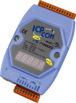 Modbus/TCP Embedded Controller with 40 Mhz CPU and Real Time Clock Programmable in C Language. Converts Modbus RTU to Modbus TCP.  Supports operating temperatures between -25 to 75°C.  Can be piggy back din rail mounted on top of other modules.  I-7188EXD-MTCP has a 7 segment LED display.