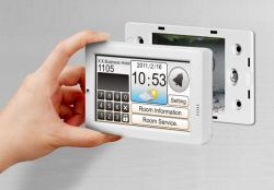 Touchpad 4.3'' Touch Screen PLC / Touch Screen Controller with RS-485 and USB ports, Real Time Clock and fits in regular electrical wall mount outlets.  Comes with Free HMIWorks C Language and Ladder Logic Programming and GUI Development Environment. Supports operating temperatures between -20 ~ +50°C (-4F ~ 122F).