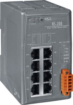 8-Port Industrial 10/100 Mbps Unmanaged Ethernet Switch, DIN-Rail Mount. Easy to Use with Plug-and-Play, Fast Data Transmission, and Reliability. Supports a Wide Range of Operating Temperatures of -30°C ~ +75°C (-22F ~ 167F).