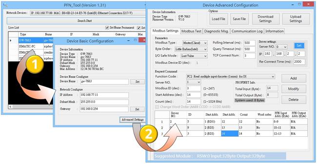 GW-7663 Profinet to Modbus TCP converter utility