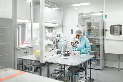 A scientist at work in a laboratory for biomaterials.